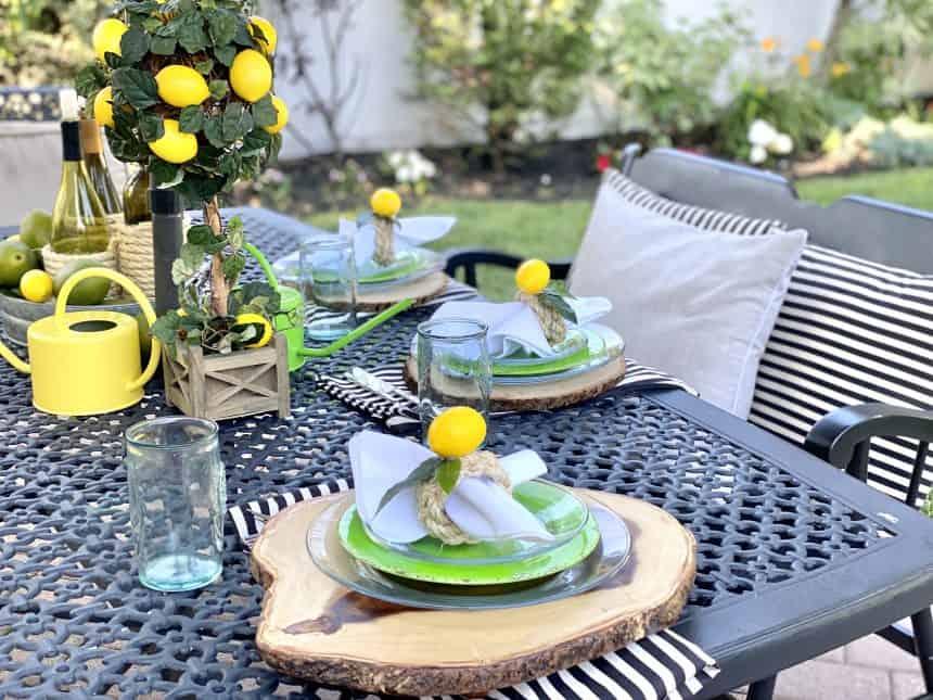 Vibrant Lemon Tablescape for Your Patio