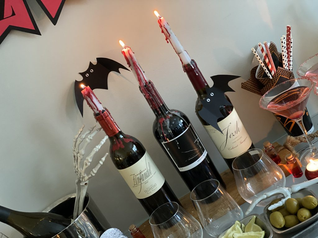 Using wine bottles to decorate.