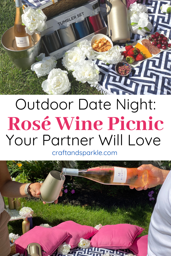 Outdoor date night: Rose wine picnic your partner will love.