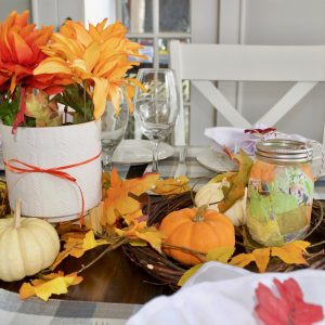 Simple Fall Tablescape with Mason Jar Lanterns