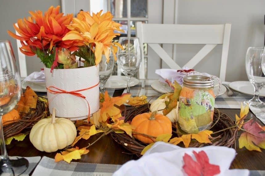 Simple Fall Tablescape with Mason Jar Lanterns