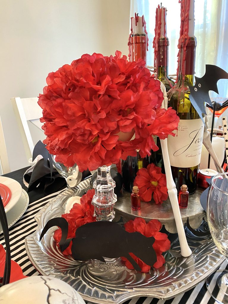 Red flower centerpiece under 6 bucks.