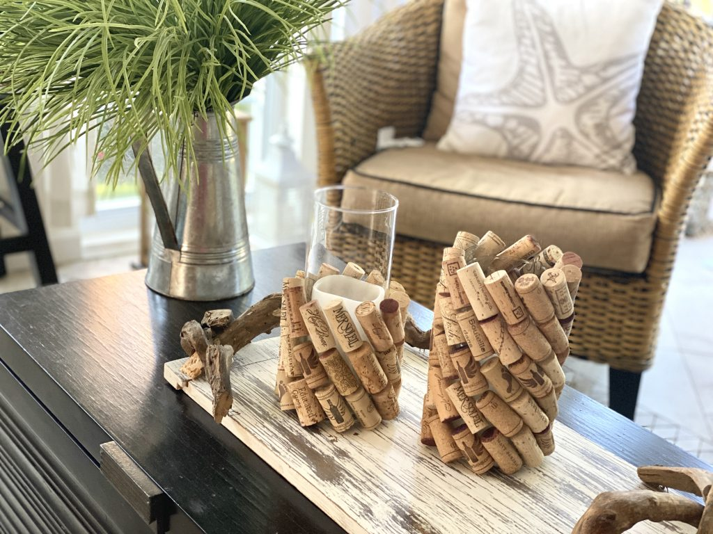 Cork cylinders for candles or flowers.
