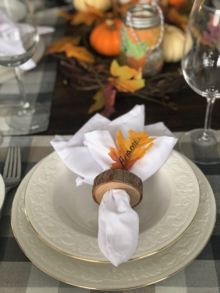 Classic place setting with rustic napkin ring.
