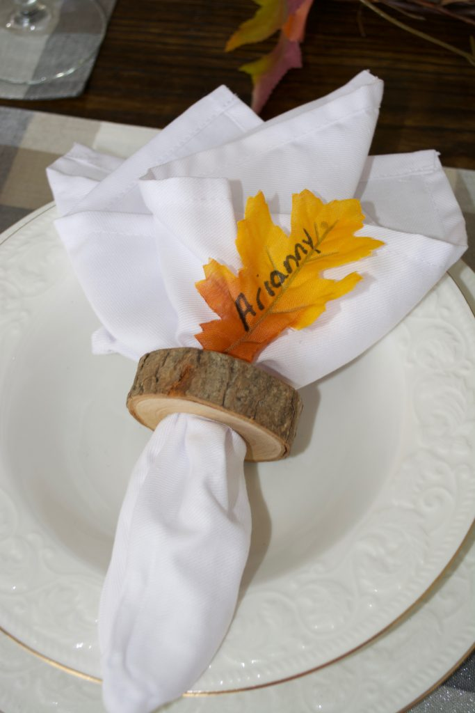 Use leaves to identify place setting for guests.