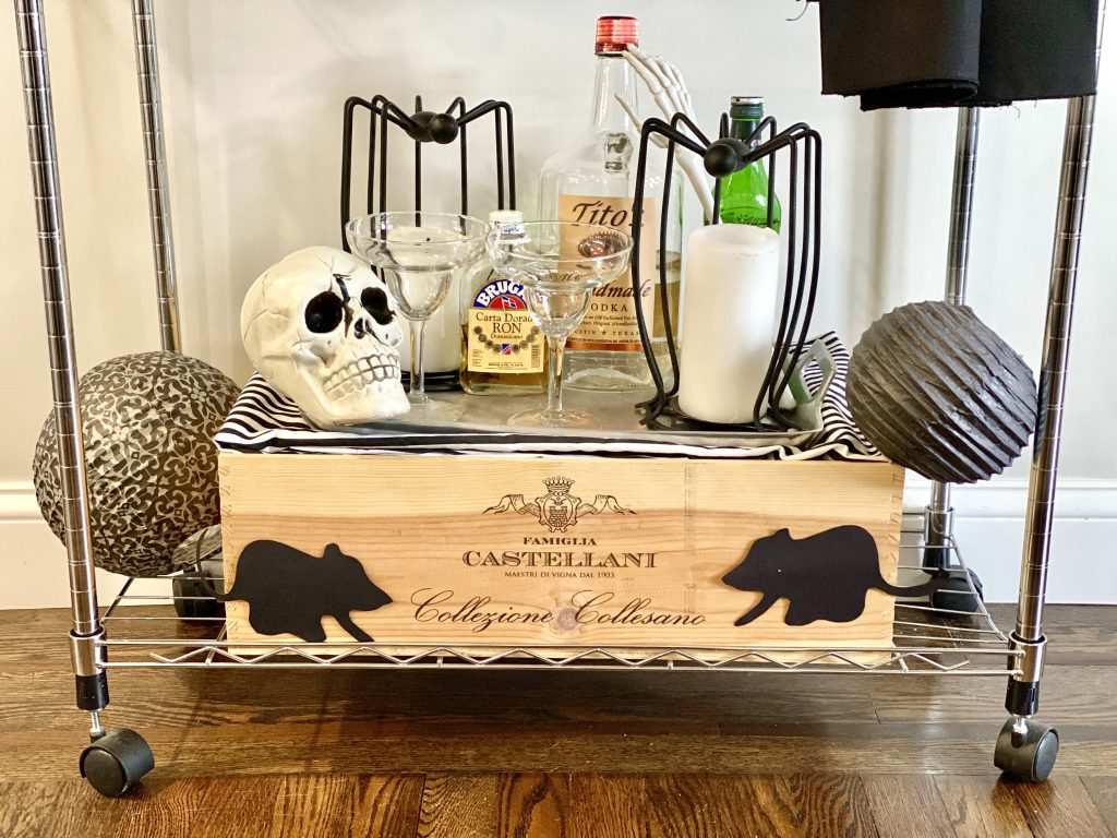 DIY Bar cart from your laundry cart!