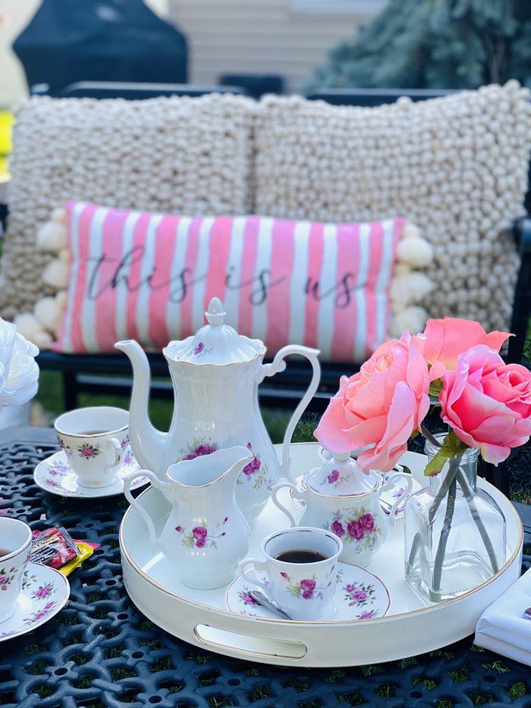 Pink vintage tea time in the garden