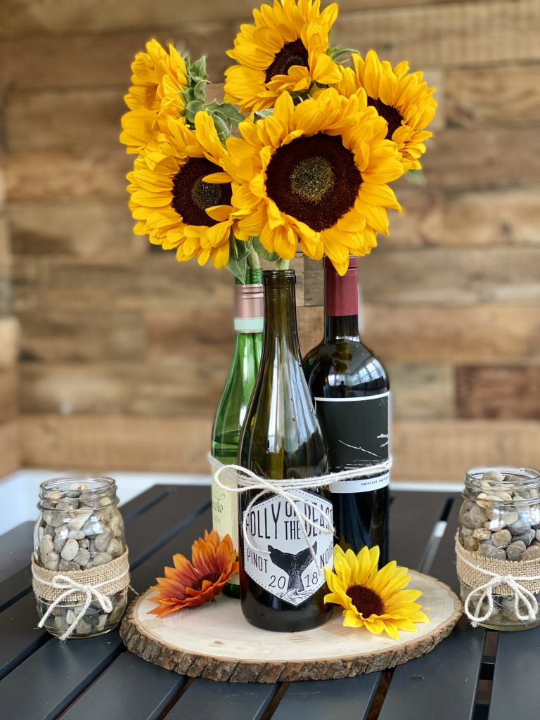 how to make your own wine bottle centerpiece
