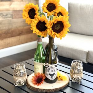 DIY Tutorial: Sunflower Wine Bottle Centerpiece