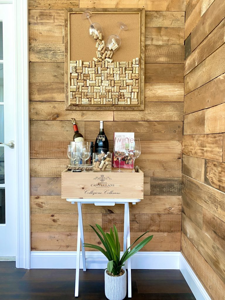 Wine bar with wine cork project.