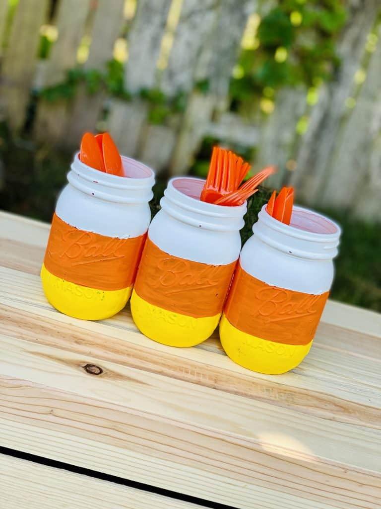 candy corn themed mason jars