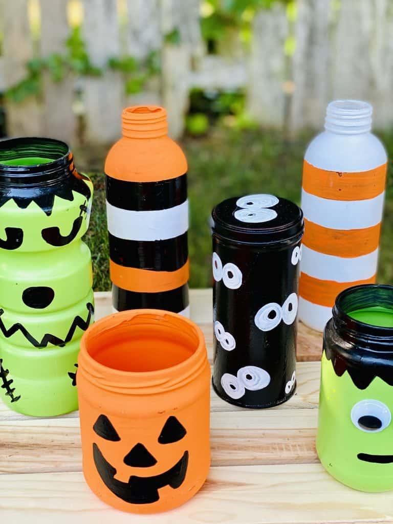 upcycled food jars for Halloween