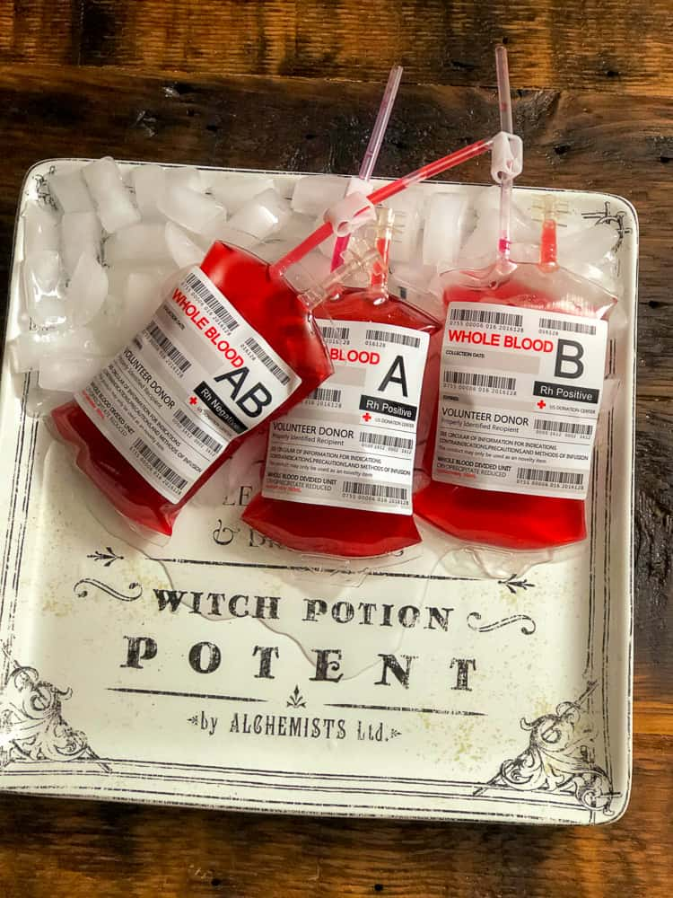 Halloween punch recipes served in IV bags.