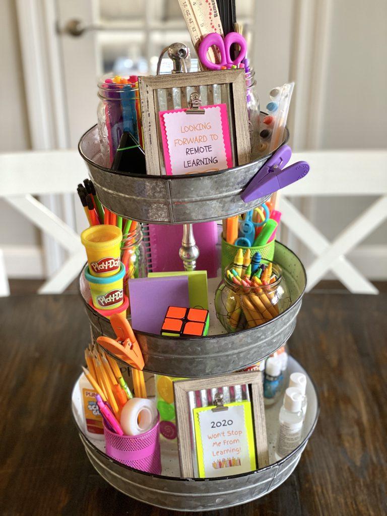 School supplies on 3 tier stand