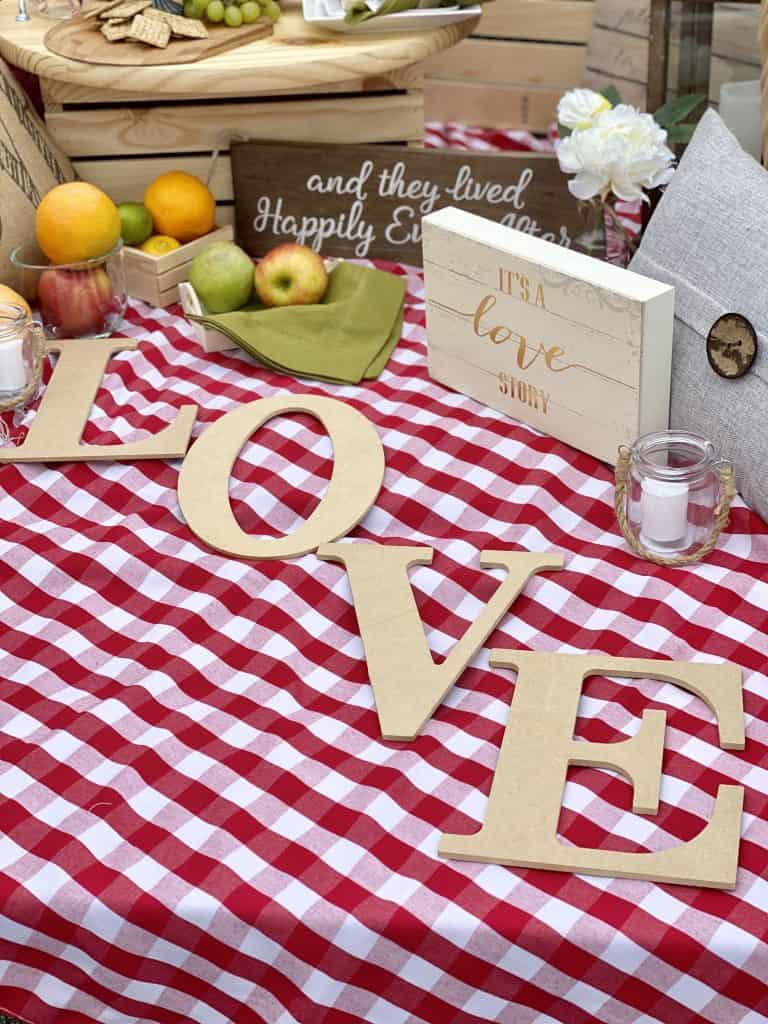 Wooden love signs.