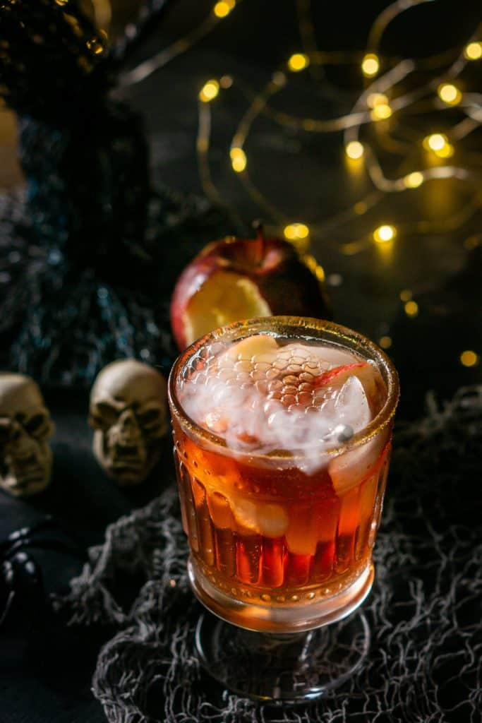 A red cocktail drink made with brandy.