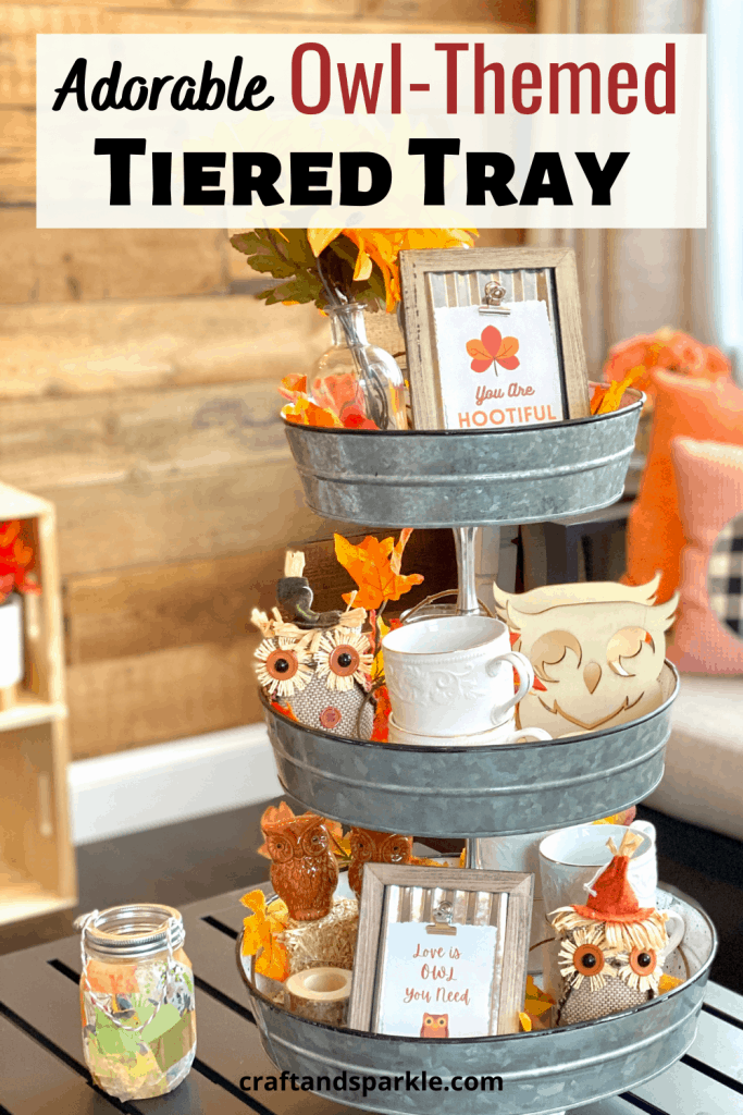 How to put together an owl themed tiered tray for fall.