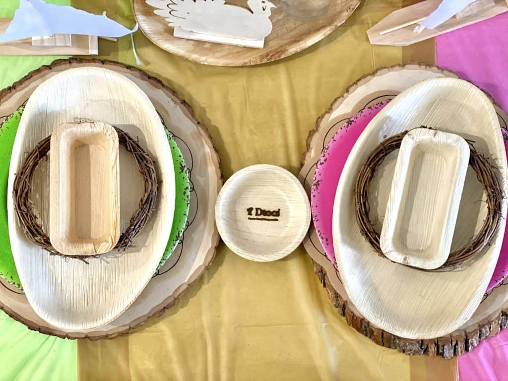 Palm leaf plates for Thanksgiving.