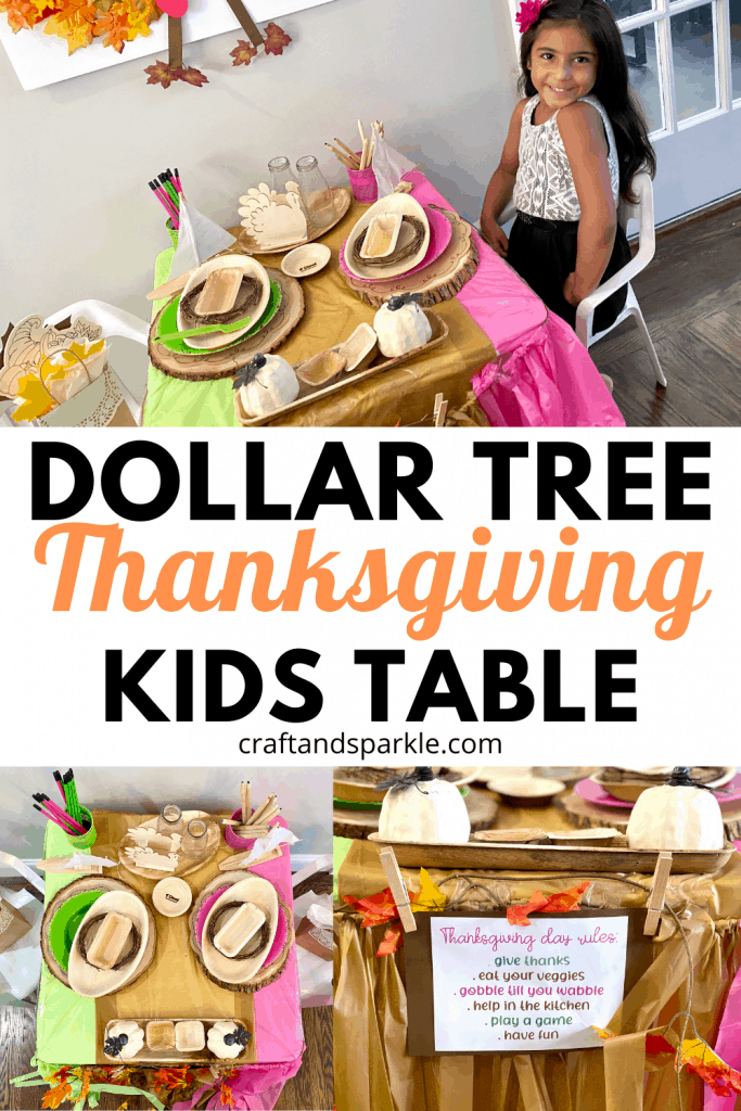 Bright and fun Thanksgiving table for kids.