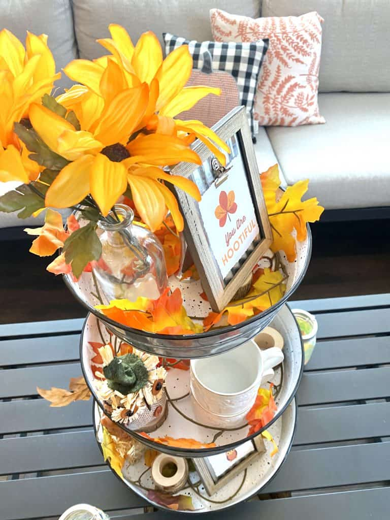 How to decorate a tiered stand for fall.
