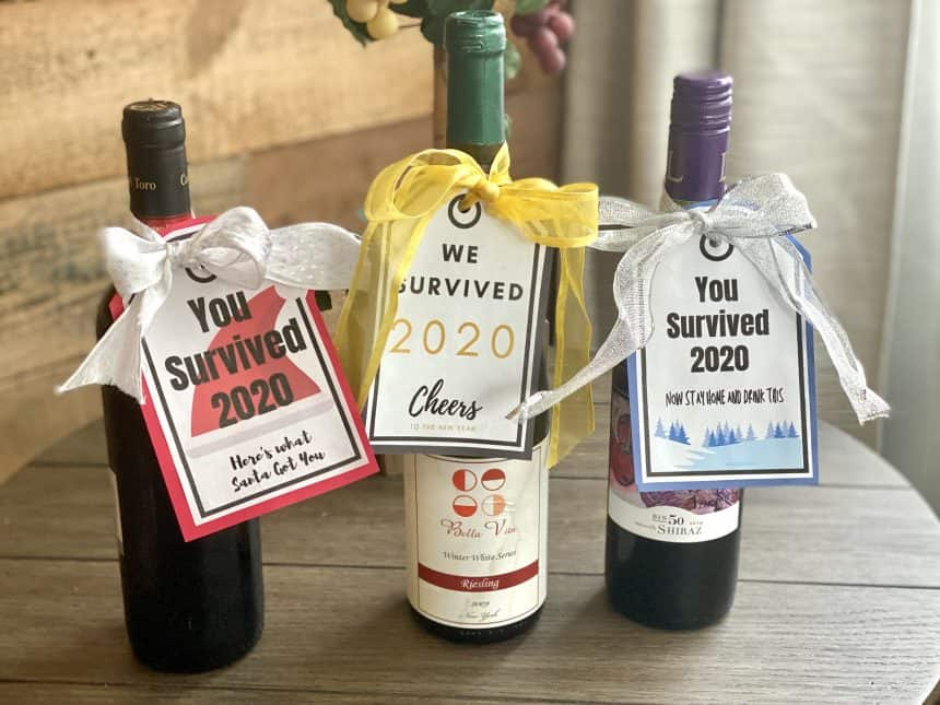"""Free Printable: Hilarious """"We Survived 2020"""" Wine Tags"""