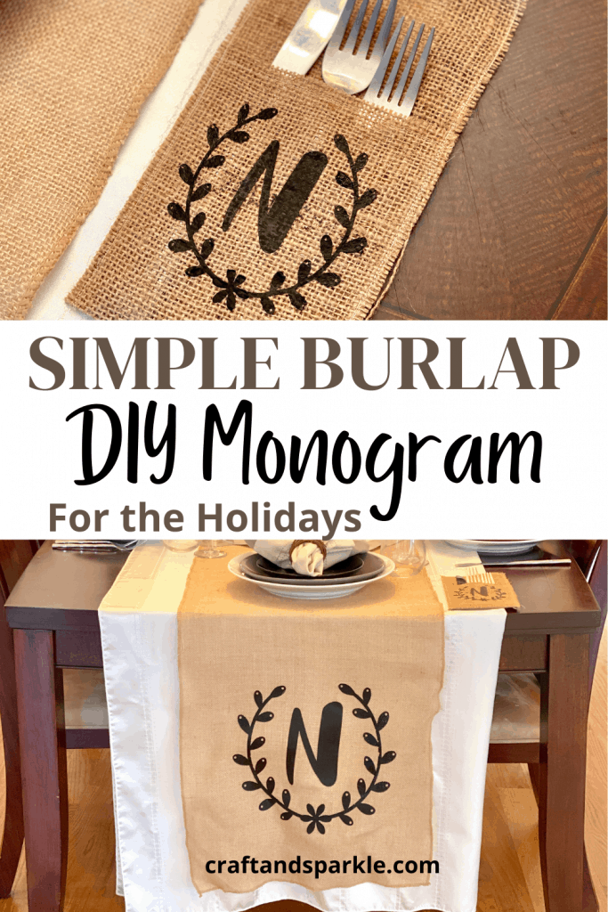 Personalized burlap table runner.