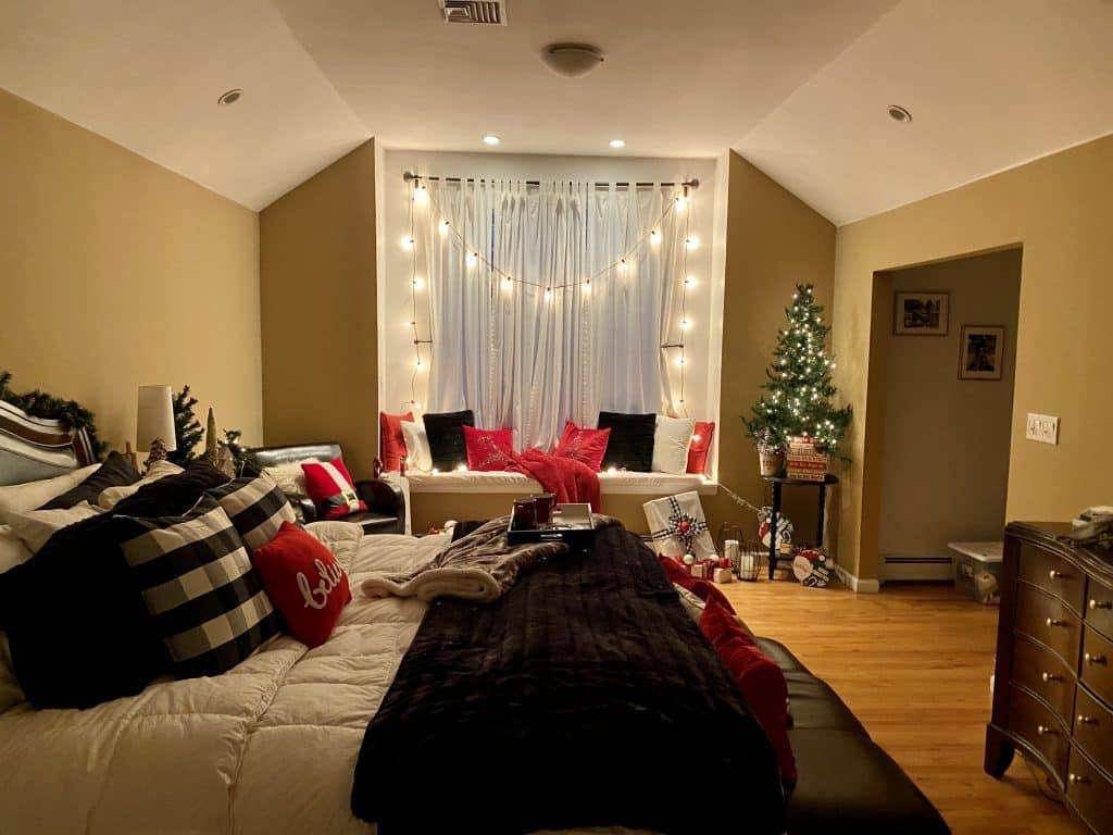 Master bedroom with Christmas decor.