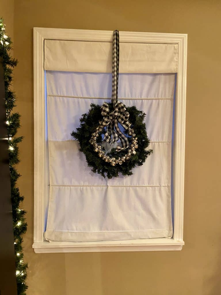 holiday wreath in bedroom