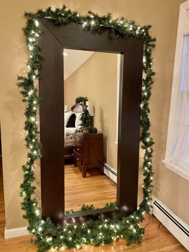 green garland on mirror
