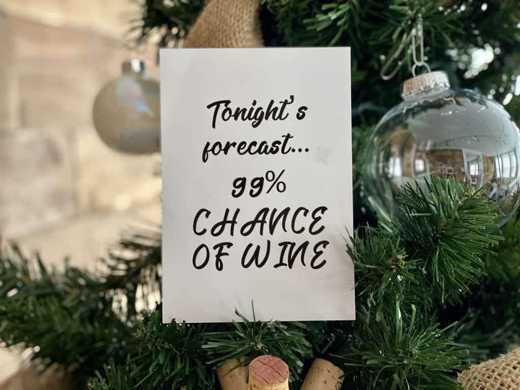 Funny wine quotes to use as ornaments.