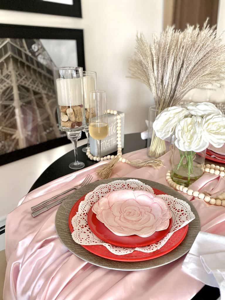 neutral valentine's day tablescape