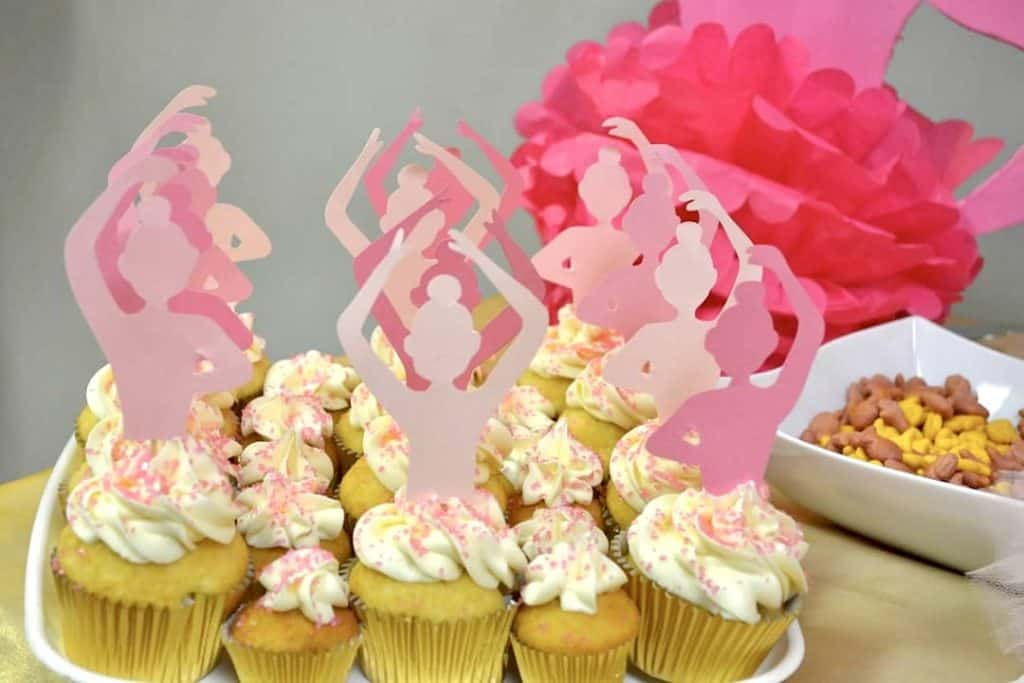 pink and gold cupcake topper