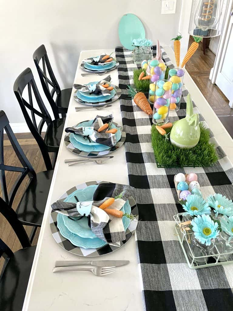 bright easter tablescape