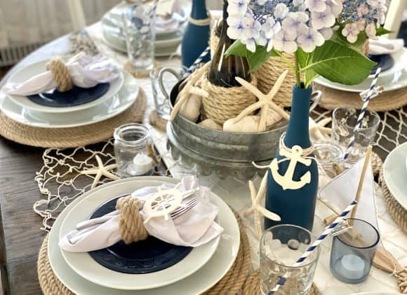 Chic & Inexpensive Nautical Dinner Party