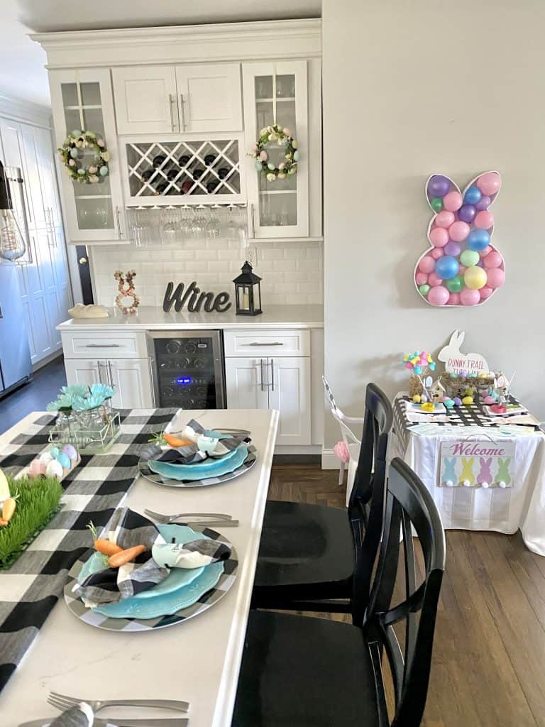Easter tablescape in white kitchen