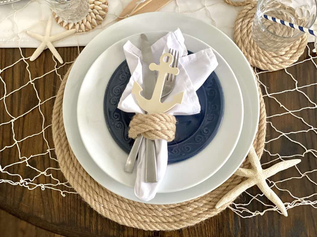 blue and white place setting