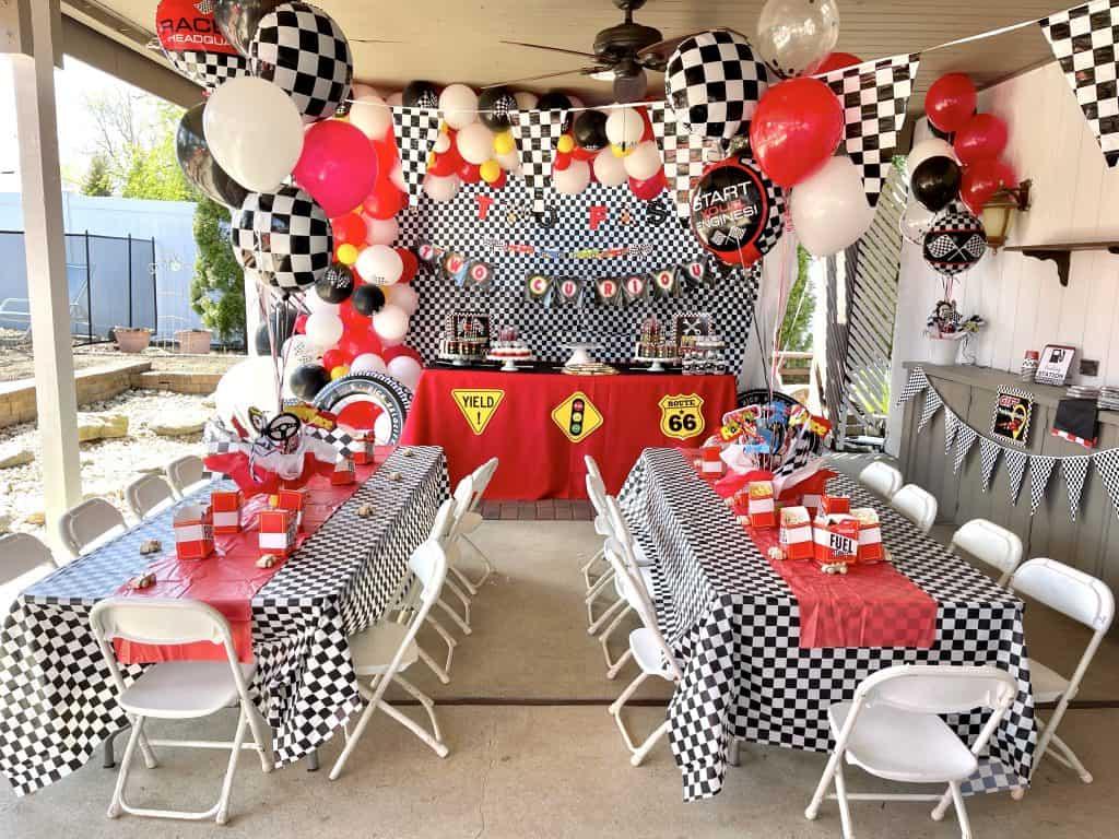 race car party tablescape