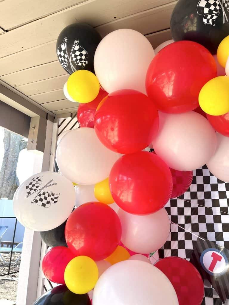 race car balloon garland