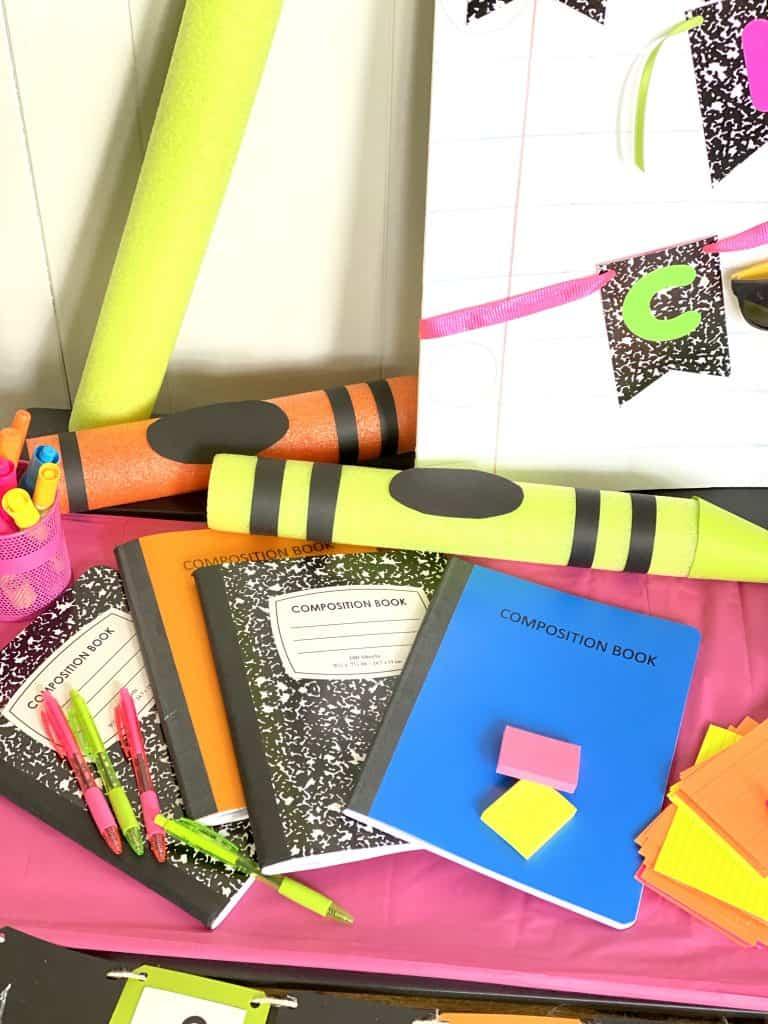 neon school supplies